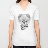 pomeranian V-neck T-shirts featuring Hand drawn portrait of  Pomeranian with scarf. by Victoria Novak