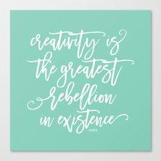 creativity rebellion Canvas Print