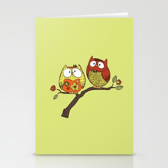 Decorative Owls Stationery Cards