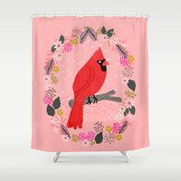 Northern Cardinal by Andrea Lauren  Shower Curtain