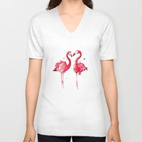 flamingo V-neck T-shirts featuring Flamingo by Sam Nagel