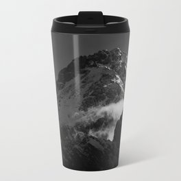 Black and white windy snowy mountain Travel Mug