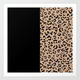 Animal Print, Leopard Spots - Brown Black Art Print