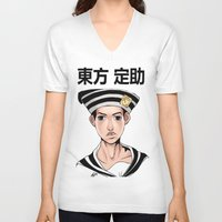 jjba V-neck T-shirts featuring Jo2uke by dggeoffing