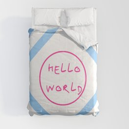 hello world 6 pink and blue Comforters