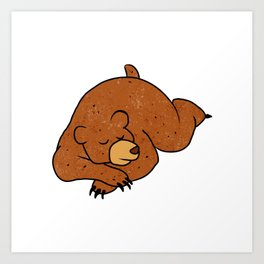 sleeping bear cartoon Art Print