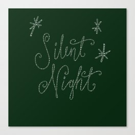 Merry Christmas - Silent Night - Typography and stars  on festive green Canvas Print