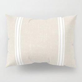 White Stripes on bone color background French Grainsack Distressed Country Farmhouse Pillow Sham