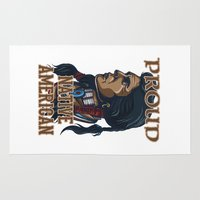native american Area & Throw Rugs featuring Proud Native American by Spooky Dooky