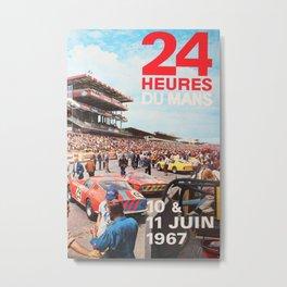 24hs Le Mans 1967, vintage poster Metal Print