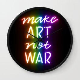 Make Art Not War rainbow Wall Clock