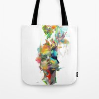 pink Tote Bags featuring Dream Theory by Archan Nair