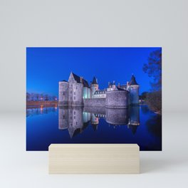 Sully sur Loire at night, Loire valley, France. Mini Art Print