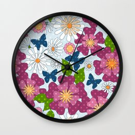 Colorful floral pattern . Retro. Wall Clock