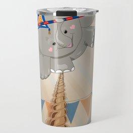 Elephant on tightrope Travel Mug