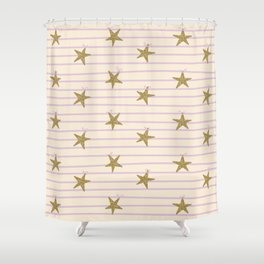 Pink Lines Shower Curtain