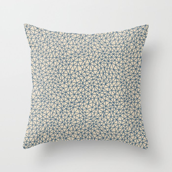 Blue Abstract Triangle Shape Pattern on Beige Pairs To 2020 Color of the Year Chinese Porcelain Throw Pillow