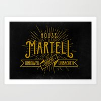 martell Art Prints featuring House Martell Typography by P3RF3KT