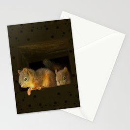 Young squirrels peering out of a nest #decor #buyart #society6 Stationery Cards