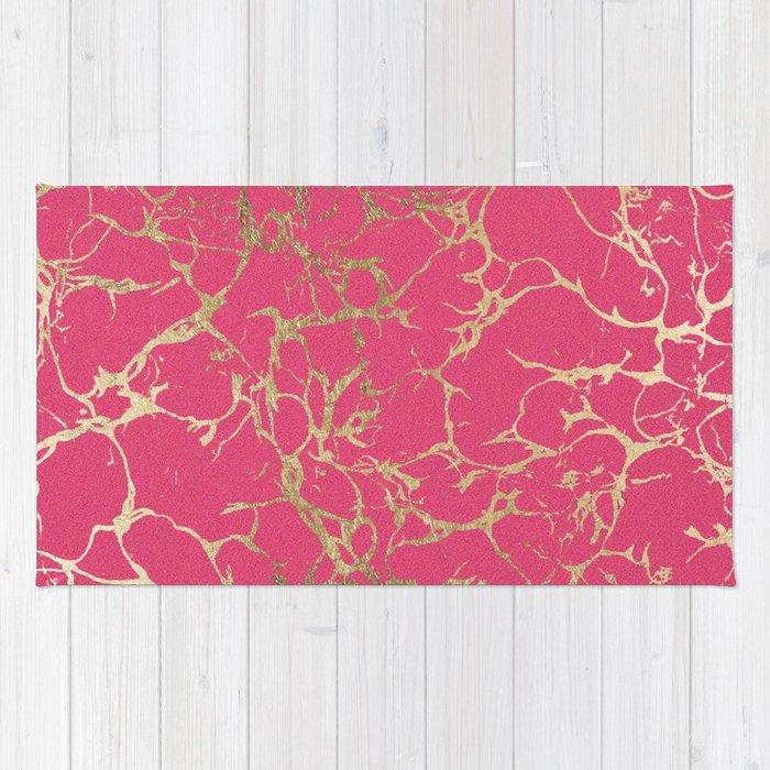 Elegant Modern Faux Gold Neon Pink Marble Pattern Rug