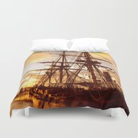 pirate ship Duvet Covers featuring PIRATE SHIP :) by Teresa Chipperfield Studios