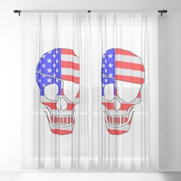 Old Glory Skull Silhouette With Eye Patch Sheer Curtain