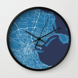 Dublin Map   Ireland   Blue & Blue Colors   More Colors, Review the Collections Art Print Wall Clock