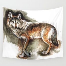 Totem Mexican Wolf ( Watercolor ) Wall Tapestry