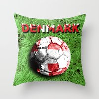 denmark Throw Pillows featuring Old football (Denmark) by seb mcnulty