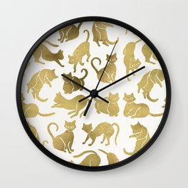 Cat Positions – Gold Palette Wall Clock