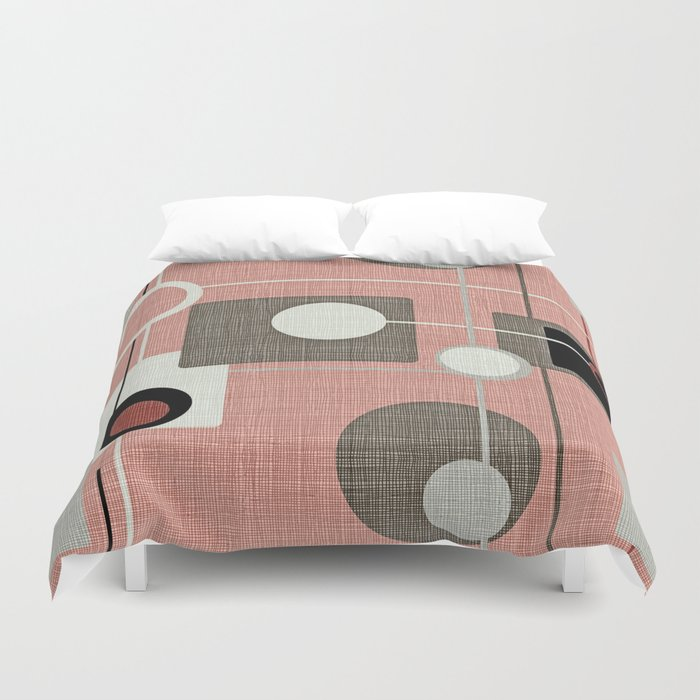 Orbs & Squares Pink Duvet Cover