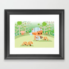 picking mushrooms Framed Art Print