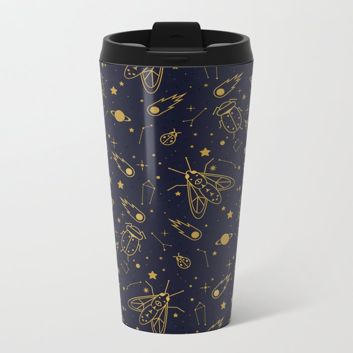Golden Celestial Bugs Metal Travel Mug