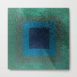 Glitter Green Blue Squares Metal Print