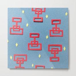 Ming Dynasty Red Papercut Metal Print