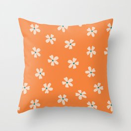 70s retro orange groovy grannie floral pattern Throw Pillow