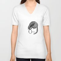 otter V-neck T-shirts featuring Otter by zuzia turek