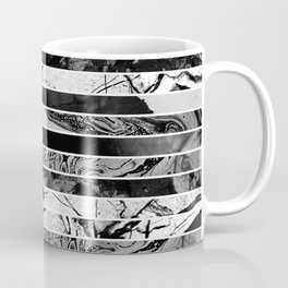 Black And White Layered Collage - Textured, mixed media Coffee Mug
