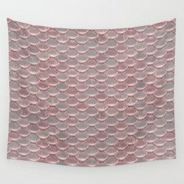 Shiny Shimmering Pink Mermaid Scale Pattern Wall Tapestry