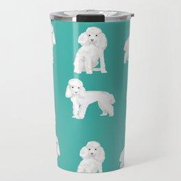 Toy poodle white poodles dog breed pet portrait pattern gifts pet friendly Travel Mug