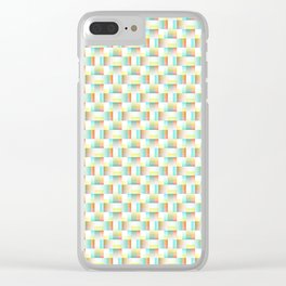 TEAL, YELLOW AND RED BLOCK AND WEAVE DESIGN Clear iPhone Case