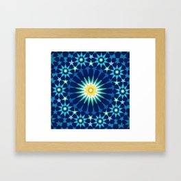 Sacred geometry Blue Framed Art Print