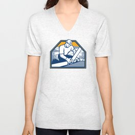 Drainlayer Worker Laying Pipes Retro Unisex V-Neck