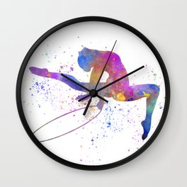 Young woman practices rhythmic gymnastics in watercolor 14 Wall Clock