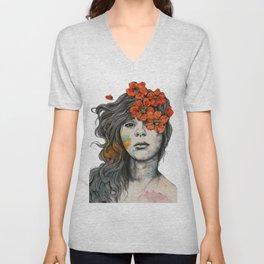 Softly Spoken Agony | flower girl pencil portrait Unisex V-Neck