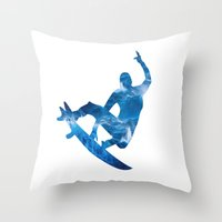 surf Throw Pillows featuring Surf by Sébastien BOUVIER