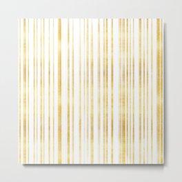 Gold and White Stripes, Metallic Golden Yellow Texture, Minimal Elegant Striped Pattern Metal Print