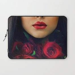 Beautiful Fashion Girl with Roses Laptop Sleeve