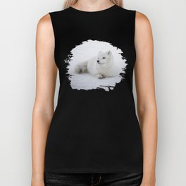 White snow arctic fox Biker Tank