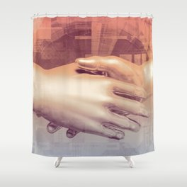 Digital Partnership with Handshake Between Man and Machine Shower Curtain